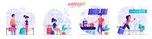 Airport Concept Scenes Set. Passengers With Luggage, Traveler In Waiting Room, Woman Hurrying To Departures Gate. Collection Of People Activities. Vector Illustration Of Characters In Flat Design