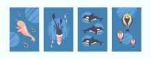 Colorful Sea Animals Illustrations Set. Sea World Illustration Set In Bright Colors. Cute Fish, Whale, Squid, Shrimp On Blue Background. Underwater Life Concept For Banners, Website Design