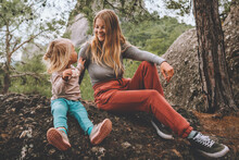 Mother And Daughter Child Outdoor Family Lifestyle Summer Vacations Together Walking In Forest Happy Positive Emotions Mothers Day