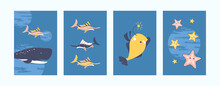 Illustration Set For Underwater Life Concept In Pastel Colors. Creative Sea World Illustration Collection. Cute Fish, Whale, Starfish On Blue Background. Can Be Used For Banners, Website Designs