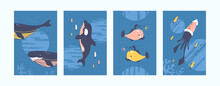 Bright Sea Animals Illustrations Set. Sea World Illustration Set In Pastel Colors. Cute Fish, Whale, Squid, Dolphin On Blue Background. Underwater Life Concept For Banners, Website Design