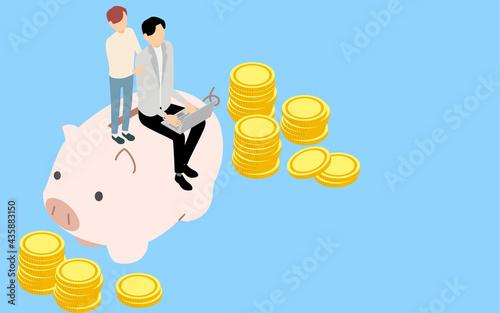 Canvas お金の教育イメージ、父親と子供と豚の貯金箱とコイン、アイソメトリック