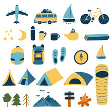 Set Of Travel Items For The Hike. Vector Elements Isolated On White Background. Illustrations Are Hand-drawn. Transport Plane Motorhome Boat Bike And Tents And Dishes And Sleeping Bag And Mountains