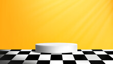 Studio Room With White Cylinder Podium In Yellow Wall Background,Yellow Gallery Room With Circle Display Showcase On Black And White Checkered Pattern Floor,Vector 3D Minimal Design Backdrop Banner