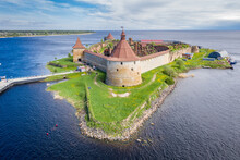 Oreshek Fortress At The Source Of The Neva River On Lake Ladoga