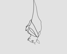 Continuous Line, Black Bat Hanging. Drawing Of Set Animals. (Vector Illustration One Line Drawing)