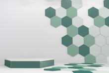 Hexagon Podiums Green On Backround Gexagon Patten.3D Rendering