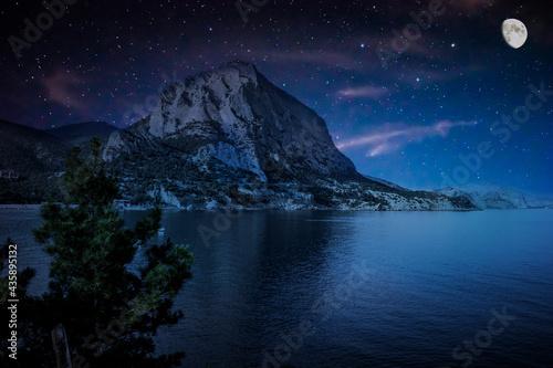 Obraz na płótnie Moonlit starry night over the bay