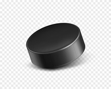 Vector 3d Realistic Black Rubber Puck Closeup For Play Ice Hockey Isolated On Transparent Background. Sport Equipment, Inventory Or Hard Round Disk For Team Game On Skating Rink, Competition.