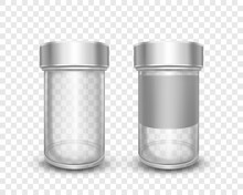 Realistic Vector Illustration Of Empty Glass Jars With Metal Caps Isolated On Transparent Background. Clean Can With Silver Lid. Packing For Sugar, Salt, Pepper, Spices And Loose Products For Kitchen.