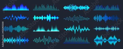 Obraz na plátně Blue colorful sound waves collection