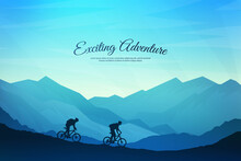 Vector Landscape Illustration. A Man And Woman With A Backpack Rides A Mountain Bike On The Rocks. Mountain Trip. Blue Foggy Background. Travel Concept Of Discovering, Exploring And Observing Nature.