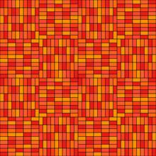 Orange Bricks Pattern. Seamless Orange And Yellow Rectangles. Vector.