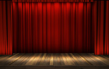 Theater Stage With A Red Curtain, Ready For A Show. 3D Rendering Virtual Show Backdrop