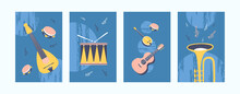 Musical Instruments Illustrations Set In Pastel Colors. Collection Of Art Posters In Retro Style. Guitar, Drum, Tambourine, Pipe On Blue Background. Art Concept For Banners, Website Design