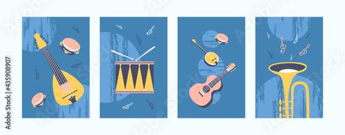 Fotografie, Obraz Musical instruments illustrations set in pastel colors