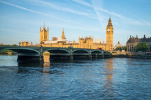London Skyline With Westminster Bridge, Houses Of Parliament And Big Ben Along The River Thames