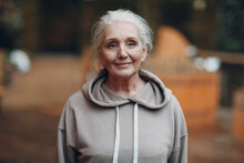 Portrait Of Mature Gray Haired Old Woman Outdoor