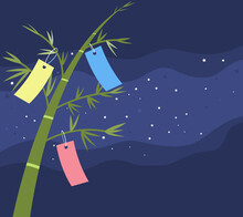 Bamboo Trees And Japanese Tanabata Star Festival Holiday Decoration On Starry Dark Night