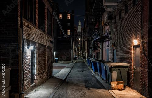 Fényképezés Dark empty alleyway in the old town at night