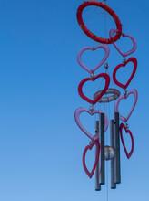 Hearts Wind Bell Under Blue Sky