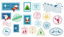 Merry Christmas Stamp And Postmarks. Santa Claus Postage Stamps. Christmas Mail. Set Of Different Christmas Stamps. Santa's Air Mail. Isolation. Vector Illustration
