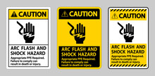 Caution Sign Arc Flash And Shock Hazard Appropriate PPE Required