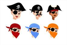 Set Of Pirate Cartoon Character