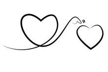 二つのハートの線画イラスト