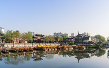 Rivers, Roads And Ancient Buildings In The Confucius Temple Scenic Spot In Nanjing, Jiangsu Province, China.