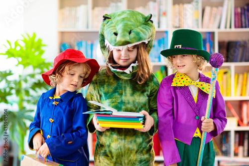 Obraz na płótnie Kids in book character costume. School party.