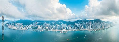 Epic Panorama aerial view of Victoria Harbour, center of Hong Kong. Asia Commercial City