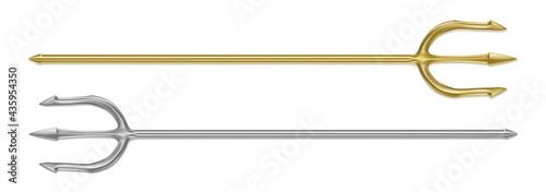 Fotografia Gold, silver trident, devil pitchfork isolated on white background