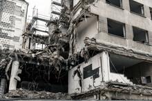 Obsolete Urban Building Under Demolition In Dusseldorf, Germany