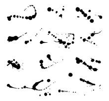Set Of Vector Ink Blots. Grunge Design Element.