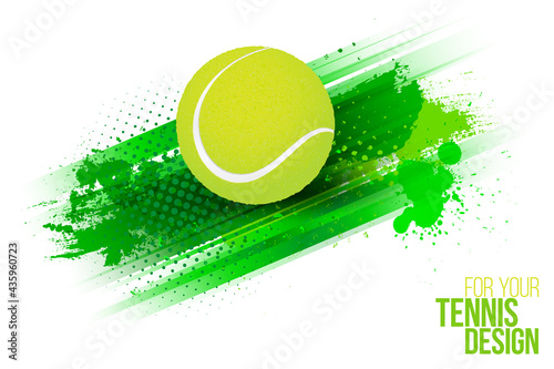 Abstract grungy background with stripes and tennis ball #435960723