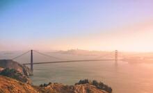 Breathtaking Scenery Of The Foggy Golden Gate Bridge Presidio, San Francisco, USA