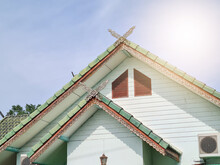 Large Triangular Gable Roof With Thai Pattern And Green Tiles