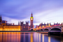 Big Ben And The Houses Of Parliament On The River Thames At The Evening, London, UK