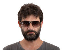 Portrait Of Ordinary Forty - 40 Years Old Bearded Man With Sunglasses Isolated On White