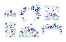 Blue Irises Collected In Wreaths And Bouquets. Set Of Graphic Elements On A White Background. Patterns Converging On Two And Four Sides. Ornament For Printing On Circles And Other Media.