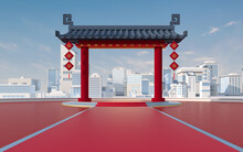 Chinese Gate With White Urban Model, Translating: 'blessing' , 3d Rendering.