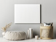canvas print picture - Empty poster on the gray wall, home decoration, 3d render, 3d illustration.
