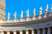 Colonnade On St.Peter's Square, Statues Of Saints On The Top, Vatican, Rome, Italy