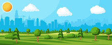 City Park Concept. Urban Forest Panorama. Cityscape With Buildings And Trees. Sky With Clouds And Sun. Leisure Time In Summer City Park. Vector Illustration In Flat Style