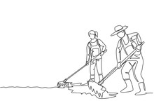 Single One Line Drawing Of Couple Farmer Leveling The Ground Using A Rake. Start A New Planting Season. Farming Challenge Minimal Concept. Continuous Line Draw Design Graphic Vector Illustration.