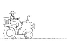 Single Continuous Line Drawing Young Male Farmer Drive A Tractor To Plow The Fields. Start A New Planting Period. Farming Minimalism Concept. Dynamic One Line Draw Graphic Design Vector Illustration.