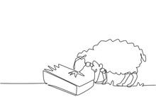 Single One Line Drawing Of The Sheep Are Being Fed To Be Healthy And Produce The Best Milk And Meat. Farming Challenge Minimal Concept. Modern Continuous Line Draw Design Graphic Vector Illustration.