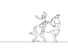 Single One Line Drawing A Female Acrobat Performs On A Circus Horse While Dancing On The Horse's Back And Raises Her Hands. The Horse Joins The Dance. One Line Draw Design Graphic Vector Illustration.