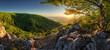 Leinwandbild Motiv Panorama of spring with sun and tree, Slovakia
